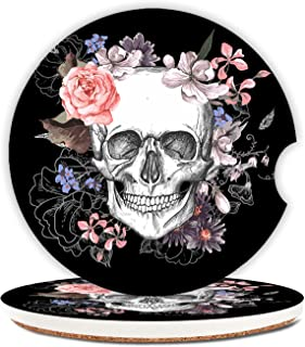 Cool Skull Skeleton Ceramic Cup Holders Car Coasters Set for Women/Men,Floral Design Keep Cup Holders Clean and Dry,Drink ...