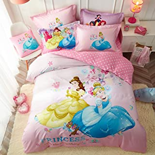 Casa 100% Cotton Kids Bedding Set Girls Princesses Cinderella and Bella Duvet Cover and Pillow Cases and Fitted Sheet,4 Pieces,Queen