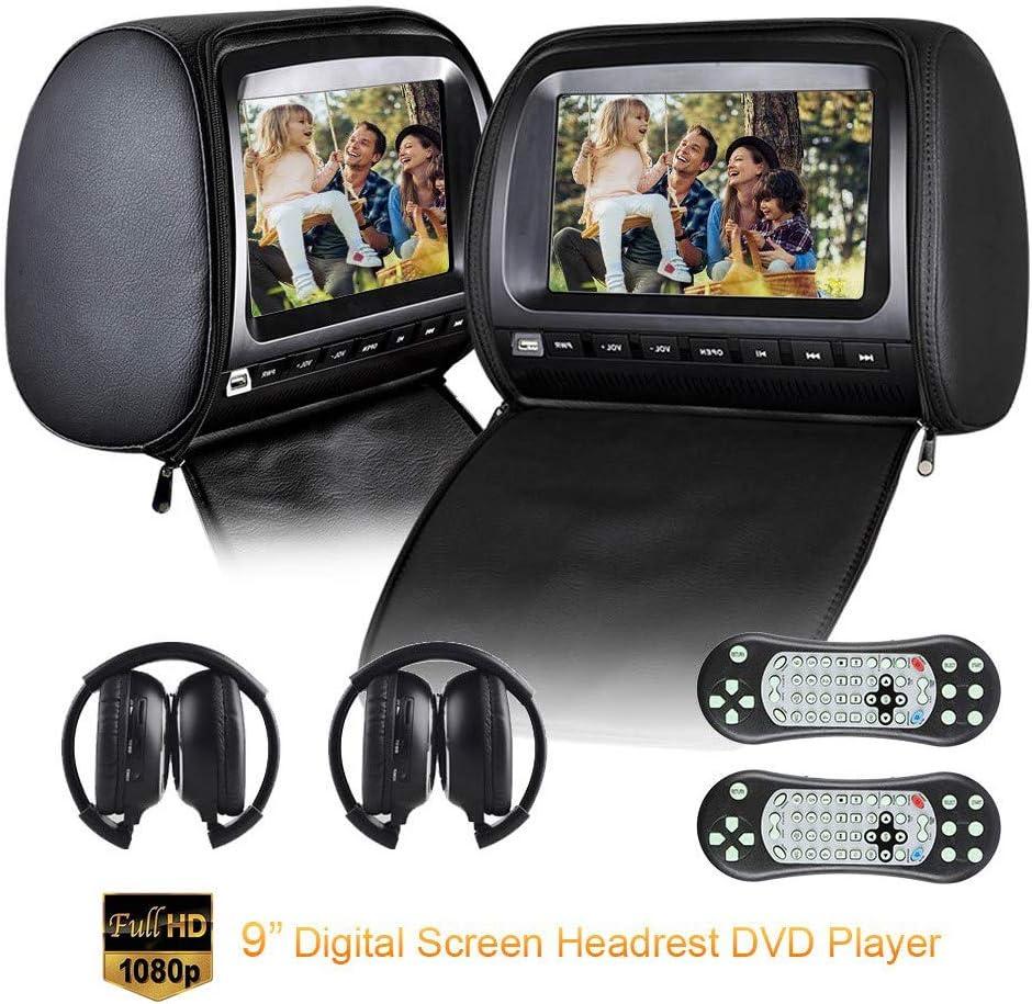 Roboraty Autokopfstütze Video Player Mit 9 Zoll Dvd Monitor Dual Region Free Dvd Player Für Auto Support Usb Sd Ir Fm Sender Av Ein Ausgang 2 Stück Ir Kopfhörer Black Auto