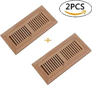 Welland 2 PCS Set 4 Inch x 12 Inch Red Oak Flush Mount Register,Wood Vent Cover Floor Vents,Unfinished