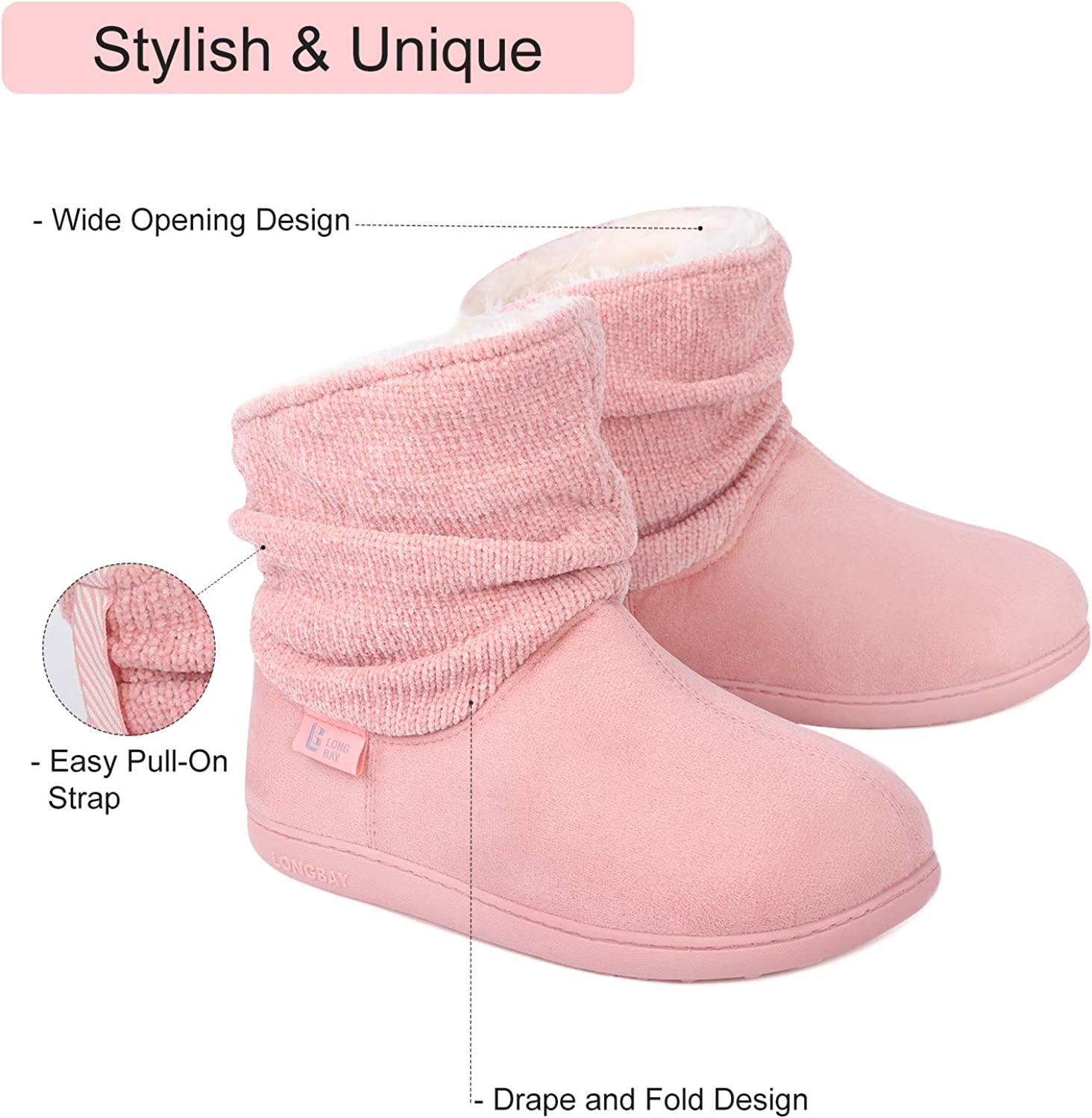 LongBay Womens Warm Chenille Knit Bootie Slippers Memory Foam Comfy Suede Fluffy Faux Fur Memory Foam Boots House Shoes