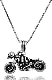 قلادة رجالي من الفضة الإسترلينية 925 مع طول سلسلة فضية 60.96 سم، قلائد مجوهرات للرجال، قلادات تصميم الدراجات النارية، قلاد...