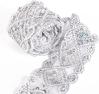 Sequins Lace Mesh Trim Lace Ribbon Applique Sewing Craft Supplies 10 Yards for Clothing Curtain Table Runner Making Decorating (Silver)