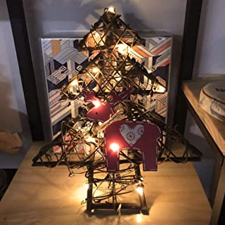 Narutosak 20LED Hollow Tree Deer Rattan Christmas Party Ornament Wall Home Decoration