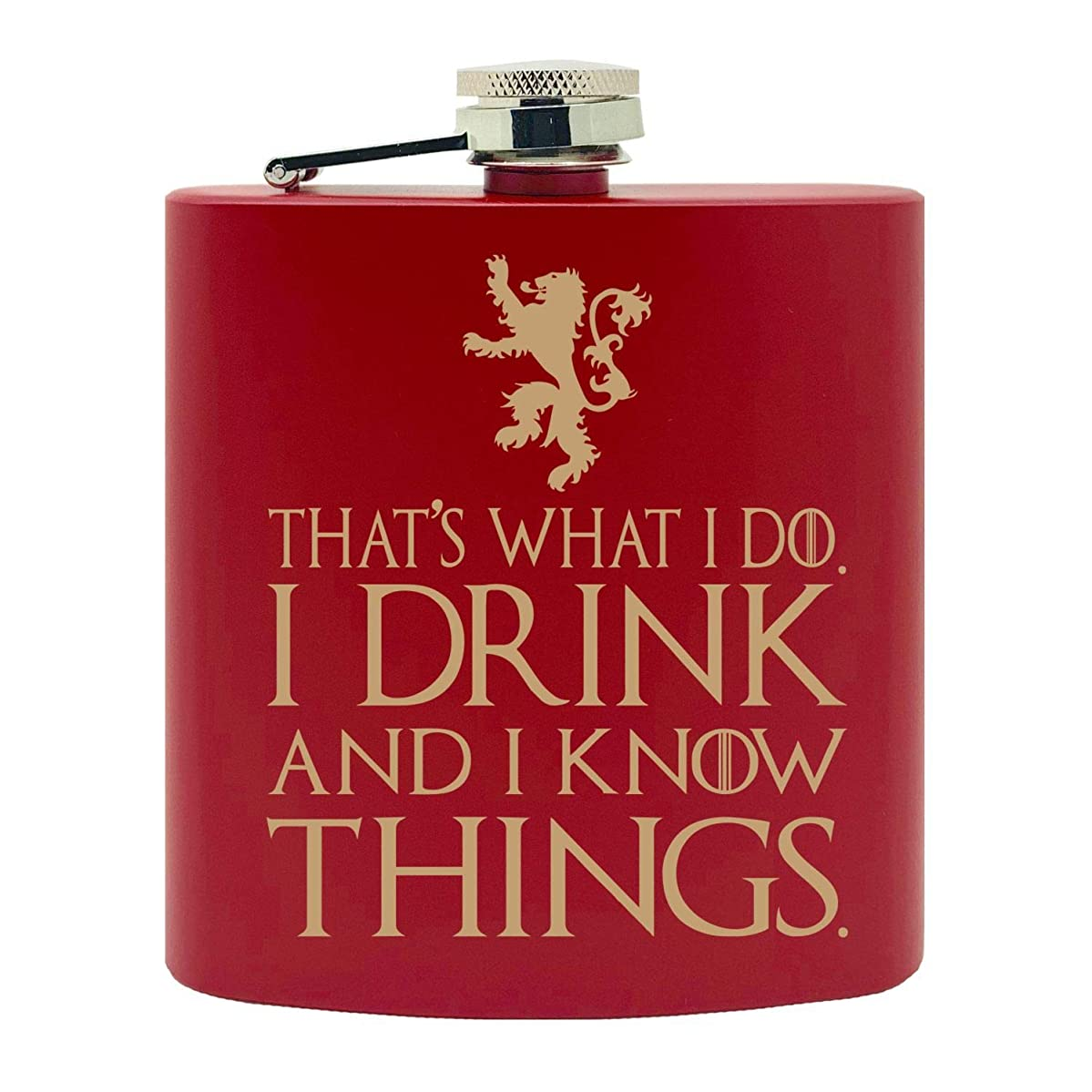 That's What I Do, I Drink and I know Things GoT Inspired Golden Lion Design Custom Printed Stainless Steel Alcohol Hip Flask, 6 Oz. Red