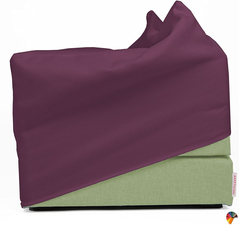Arketicom Italian Faltmatratze TOUF, the Bed that Becomes a Pouf,Light Grün Farbe Fabric Base and external Cover grau 60x60x45 cm Artisans Italian Product 100% Hand Made