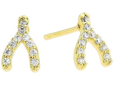 SHASHI Wishbone Pave Stud Earrings (Gold) Earring