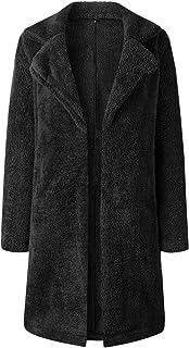 SZIVYSHI Winter Thick Warm Long Sleeve Collar Pocket Plush Faux Fur Longline Cardigan Coat Jacket Top