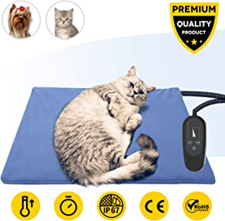 Upgraded Pet Heating Pad with Timer,Temperature Adjustable Pet Bed Heater Warmer with Chew Resistant Cord,Waterproof Heating Pad for Dogs Cats,Soft Cat Dog Heated Bed Mat,Indoor Pet Thermal Pad