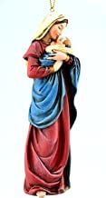A Mother's Kiss Mary with Infant Jesus Resin Statue Christmas Ornament, 5 Inch