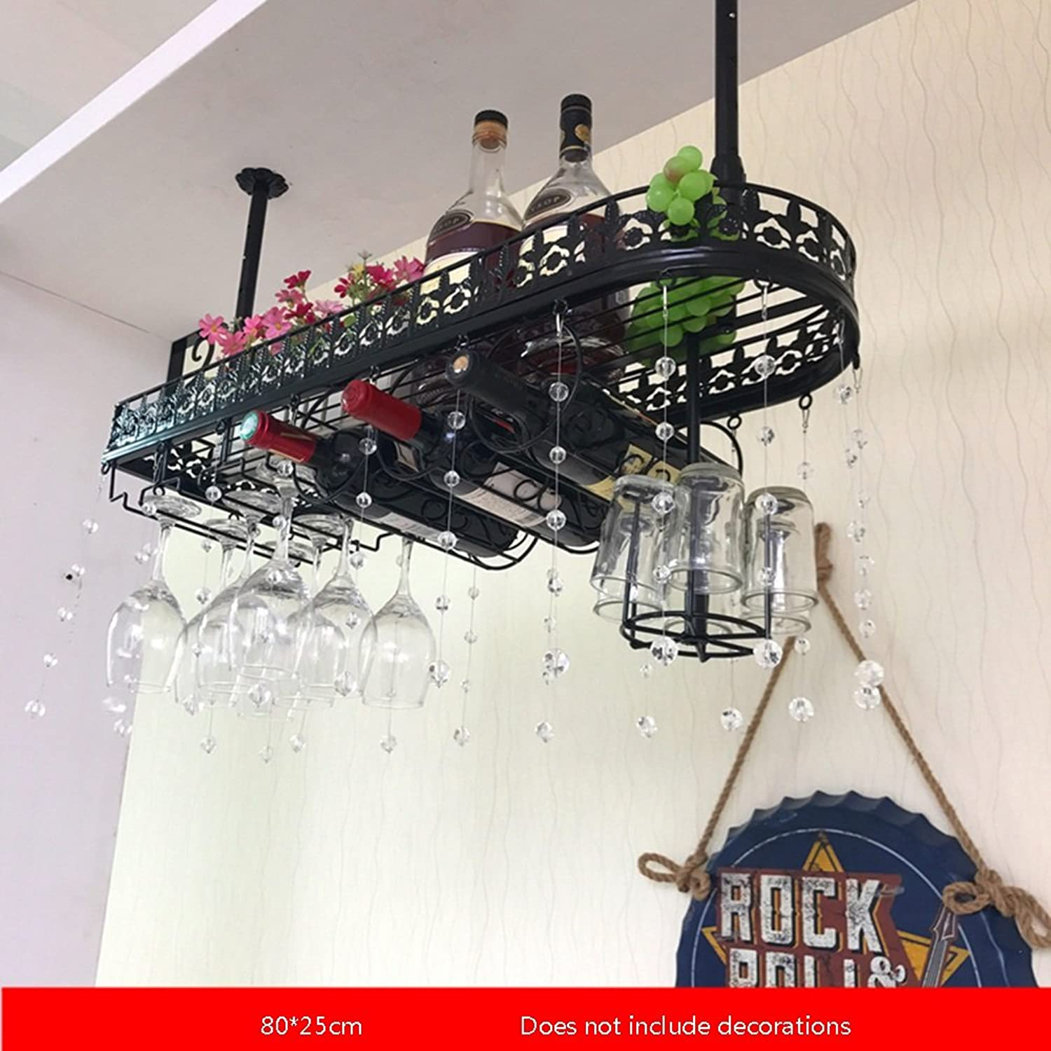 YYHSND European Bar High Wine Rack Upside Down Creative Home Racks Ornaments red Wine Rack (color   Black, Size   80  25cm)