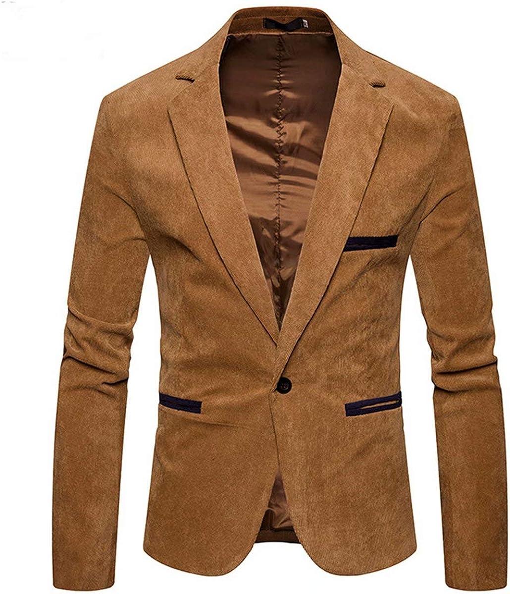 Men's Corduroy Suit Blazer Jacket Vintage Casual Slim Fit Autumn Winter Sport Coat