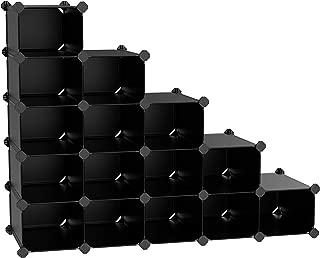 SONGMICS Rack,16 Modular Cube, Space Saving DIY Plastic Shoe Storage Organizer Units, Closet Cabinet, Ideal for Entryway Hallway Bathroom Living Room, Corridor Black ULPC44H