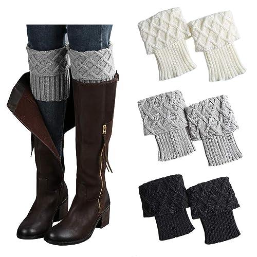 37efbb51672 Bestjybt 3 Pairs Womens Short Boots Socks Crochet Knitted Boot Cuffs Leg  Warmers Socks