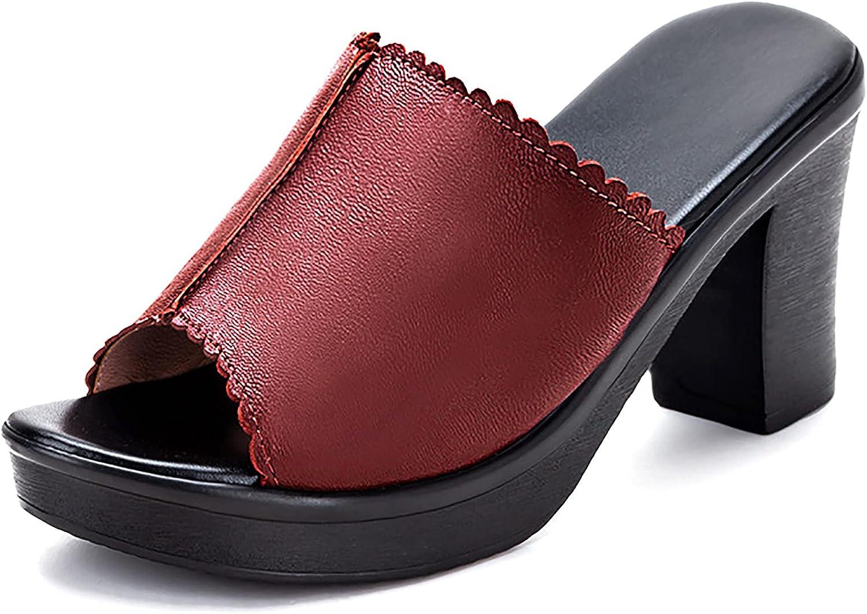 kekafu Womens Heeled Sandals Peep Toe Ruffle Chunky High Heels Dress Backless Slide Sandals