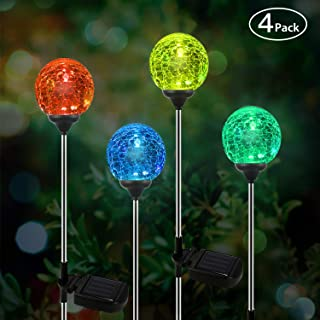OxyLED Solar Garden Lights Outdoor, 4 Pack Solar Globe Light Stakes, Color-Changing LED Path Light Landscape Lighting, Auto On/Off Dusk to Dawn for Pathway Lawn Patio Halloween Christmas