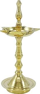 inCAREofGOD 5 Wicks Diya Religious Brass Oil Lamp with Stand Diwali Pooja Aarti Accessory