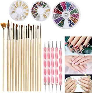 Fameza Nail Art Tools Fashion Design 15pcs Gold Wooden Nail Art Brush, 10 Rolls of Striping Tape Gold Tweezer Gold and Silver Studs Decorations Nail Rhinestones Gold Nail Art Studs