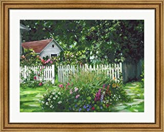 White Picket Fence by Susan Rios Framed Art Print Wall Picture, Wide Gold Frame, 35 x 28 inches