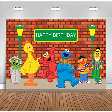 Bandera De Elmo 2Jonathan Street is So Excited Booth Photography Vinyl Cartoons Video Banner Backdrop Orange Drill Wall Decoration Background Shoot