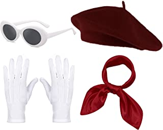 Womens French Beret Hat Chiffon Scarf Gloves Sunglasses Costume Accessories