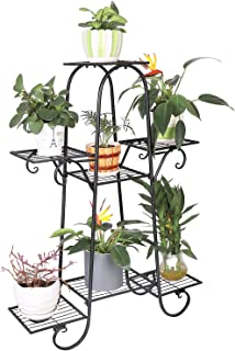 UNHO Metal Plant Stand Shelves: 7 Tier Plant Pot Stand Indoor Plant Display Rack Outdoor Plant Shelf for Patio Garden Size...
