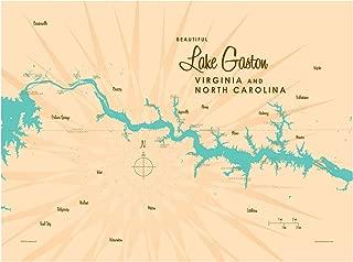 Lake Gaston VA North Carolina Vintage-Style Map Art Print Poster by Lakebound (18