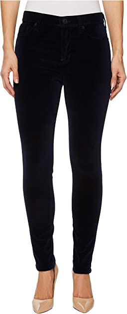Hudson - Barbara High-Waist Super Skinny Velvet Jeans in Dark Obsidian