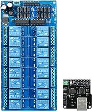 Ethernet Módulo de control LAN WAN Red Servidor web Puerto TCP IP RJ45 + Tarjeta de expansión de relé de 16 canales,para Arduino iOS Raspberry Pi 16 CHs Relay