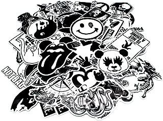 Nuoxinus Laptop Stickers 100pcs, Black White Car Stickers Skateboard Luggage Bike Motorcycle Bumper Stickers, Snowboarding Guitar Helmet Phone Graffiti Stickers Decals
