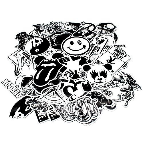 Nuoxinus Laptop Stickers [100pcs], Black White Car Stickers Skateboard Luggage Bike Motorcycle Bumper Stickers, Snowboarding Guitar Helmet Phone Graffiti Stickers Decals