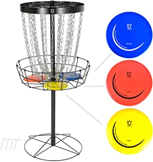 CROWN ME Disc Golf Basket Target Include 3 Discs, 24-Chain Portable Metal Golf Goals Baskets,Frisbee Golf Basket