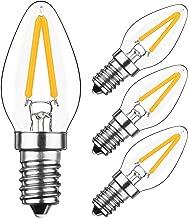HzSane 2W LED Filament C7 Night Light Bulb, 2700K Warm White 200LM, E12 Candelabra Base Lamp C7 Mini Torpedo Shape, 15W Incandescent Replacement, Refrigerator Bulb, Non-dimmable, 4 Pack