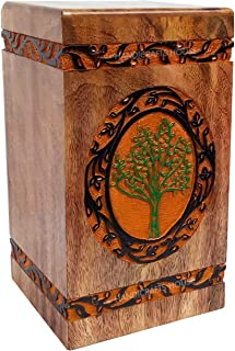 Handicrafts House Carved Wooden Urns for Human Ashes Adult, Wood Cremation Funeral Urn with Tree of Life Engraving – Burial Timber Memorial Remains Box Large Size Capacity 270 cub inches