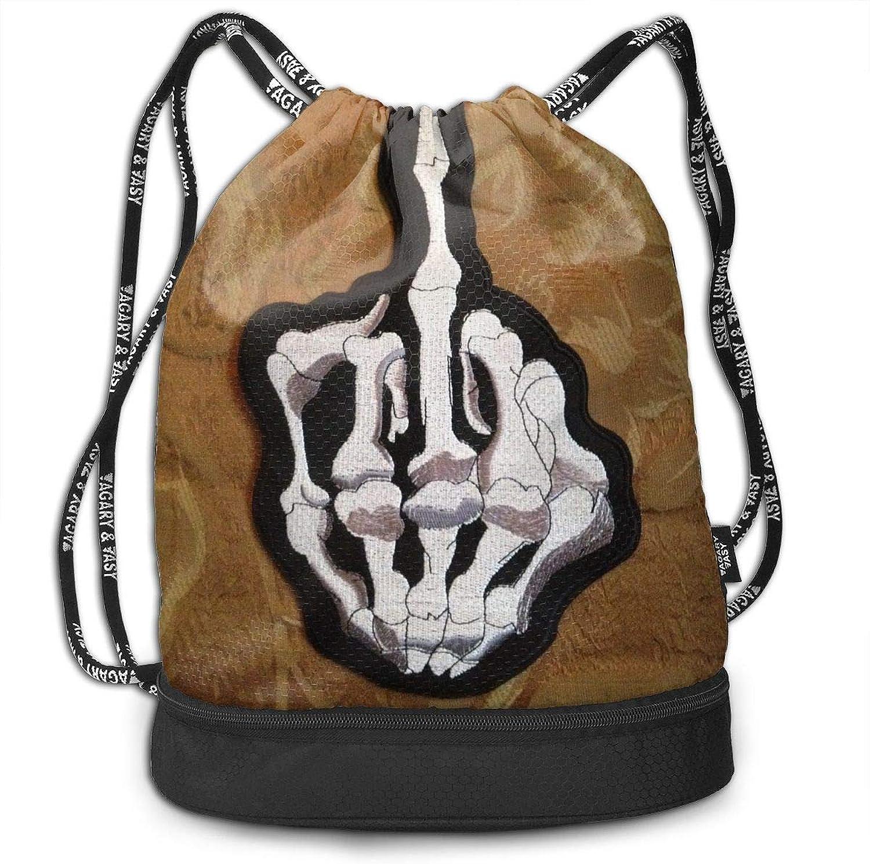 Gymsack Skull Middle Finger Print Drawstring Bags  Simple Hiking Sack