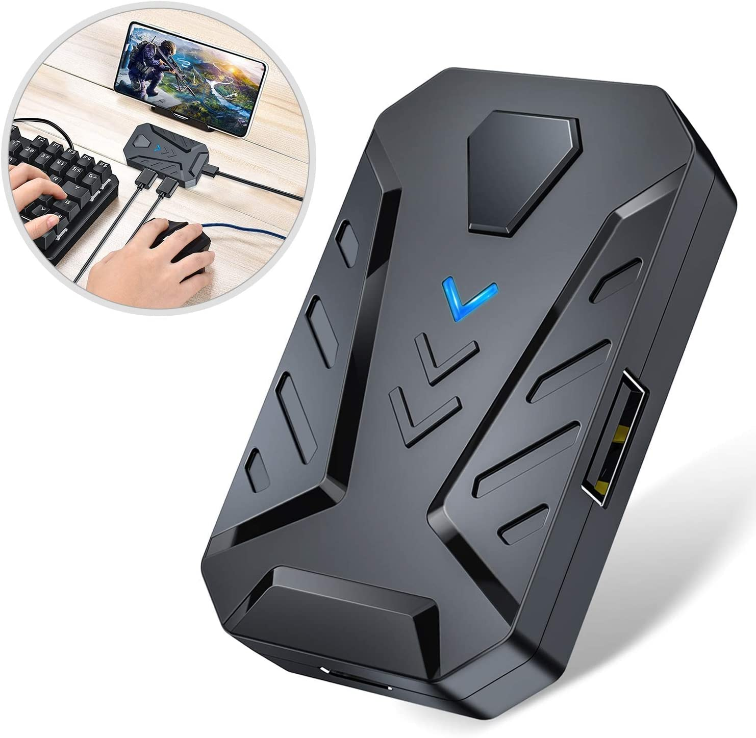 Kuinayouyi 3 in 1 Gaming Keyboard Mouse Converter Combo for Smartphone PC PUBG Mobile Game Accessories