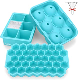 Ice Cube Trays Silicone Set of 3, TeaRoo Sphere Square Honeycomb Ice Cube Mold with Lid, Flexible, Reusable, BPA Free Ice ...