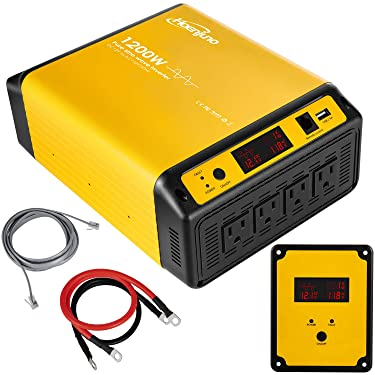 Hoenjuno 1200W Pure Sine Wave Power Inverter DC 12V to AC 110-120V Car Converter with Remote Control 4 AC Outlets 1 USB Ports & LED Display for RV Laptop CPAP & Emergency