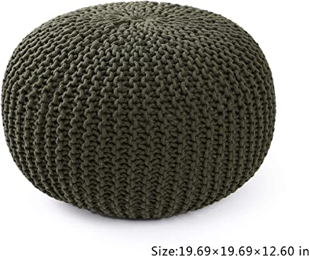 Adeco 20 Inches Knitted Style Cotton Pouf,  Floor Ottoman & Knit Foot Stool & Rest,  Olive Green Color