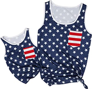 UNIQUEONE 4th of July Mommy and Me American Flag Star Striped Tank Tops Sleeveless Tank Blouse