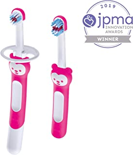 MAM Learn to Brush Set, Baby Toothbrush Set, Girl, Pink, 6+ Months