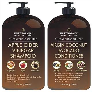 Apple Cider Vinegar Shampoo & Avocado Coconut Conditioner Set - Increase Hydration, Shine & Reduces Itchy Scalp, Dandruff ...