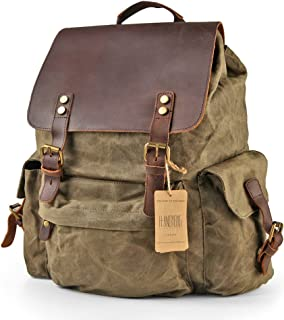 H-ANDYBAG Waxed Canvas Backpack Bag Rucksack Men Jungle Green 15.6 Inch Laptop