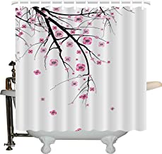 JXHLMS House Decor Shower Curtain Set by, Cherry Blossoming Falling Petals Flowers Springtime Park Simple Illustration Print, Bathroom Accessories, 66W X 72L Inches, Pink Black