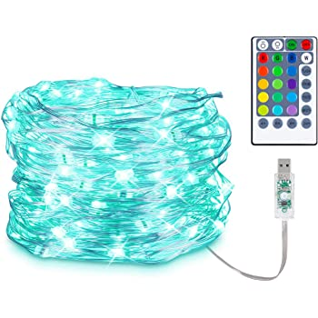 Koxly Christmas Fairy String Lights USB Powered, 16 Colors Changing String Lights 33ft 100 LED Waterproof Twinkle Lights with 4 Lighting Modes Remote Control for Bedroom Wedding Christmas Decorations
