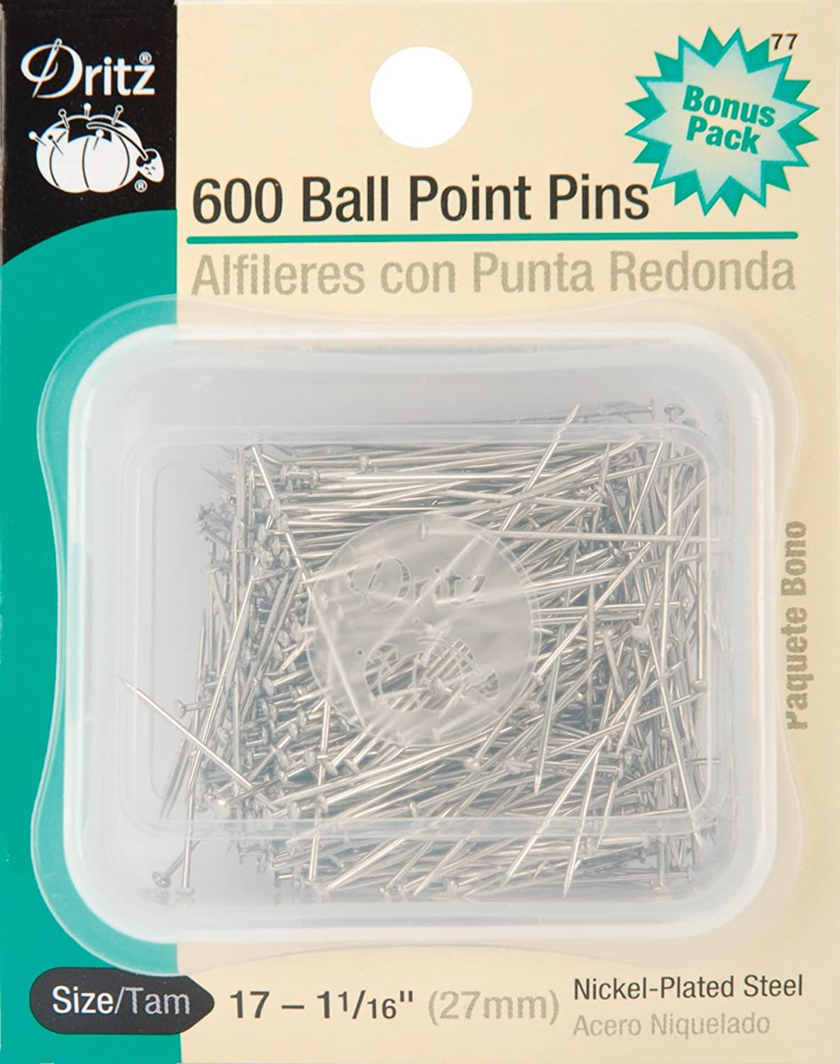 Dritz 39 Ball Point Pins, 11 16Inch (175Count), 11 16Inch