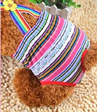 Cute Pet Costume Cute Dog Cotton Stripe Slacks Tighten Anti-Harassment Physiological Underwear Pants Red Stripes Size XS