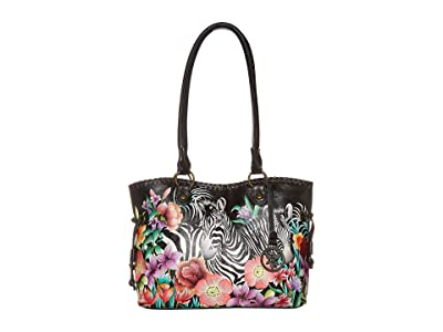 Anuschka Handbags 569 Large Drawstring Shopper (Playful Zebras) Handbags