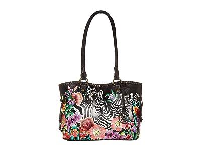 Anuschka Handbags Large Drawstring Shopper 569 (Playful Zebras) Handbags