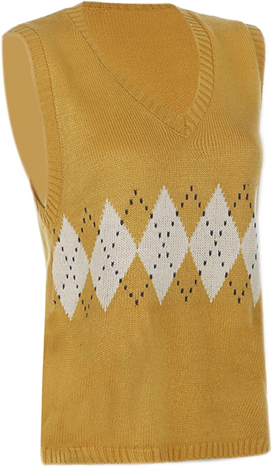 Sweater Knitted Vest Women Sleeveless Jumpers Pullover Argyle Preppy Style V Neck Plaid Sweater Y2K Vintage Tops